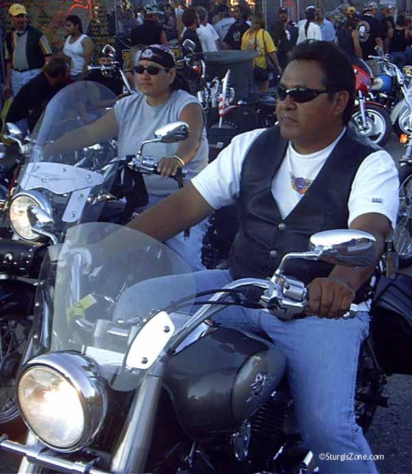 Sturgis biker in herd