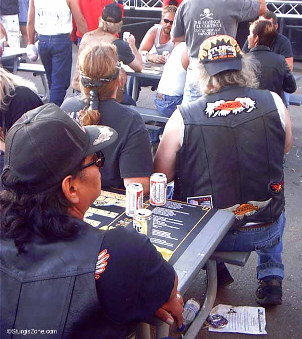 Relaxing bikers at the Sturgis Rally
