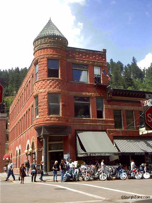 Sturgis bikers on Deadwood corner