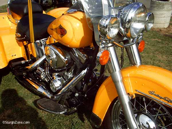 Beautiful yellow Harley