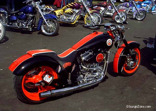 Red Harley at the Sturgis Rally
